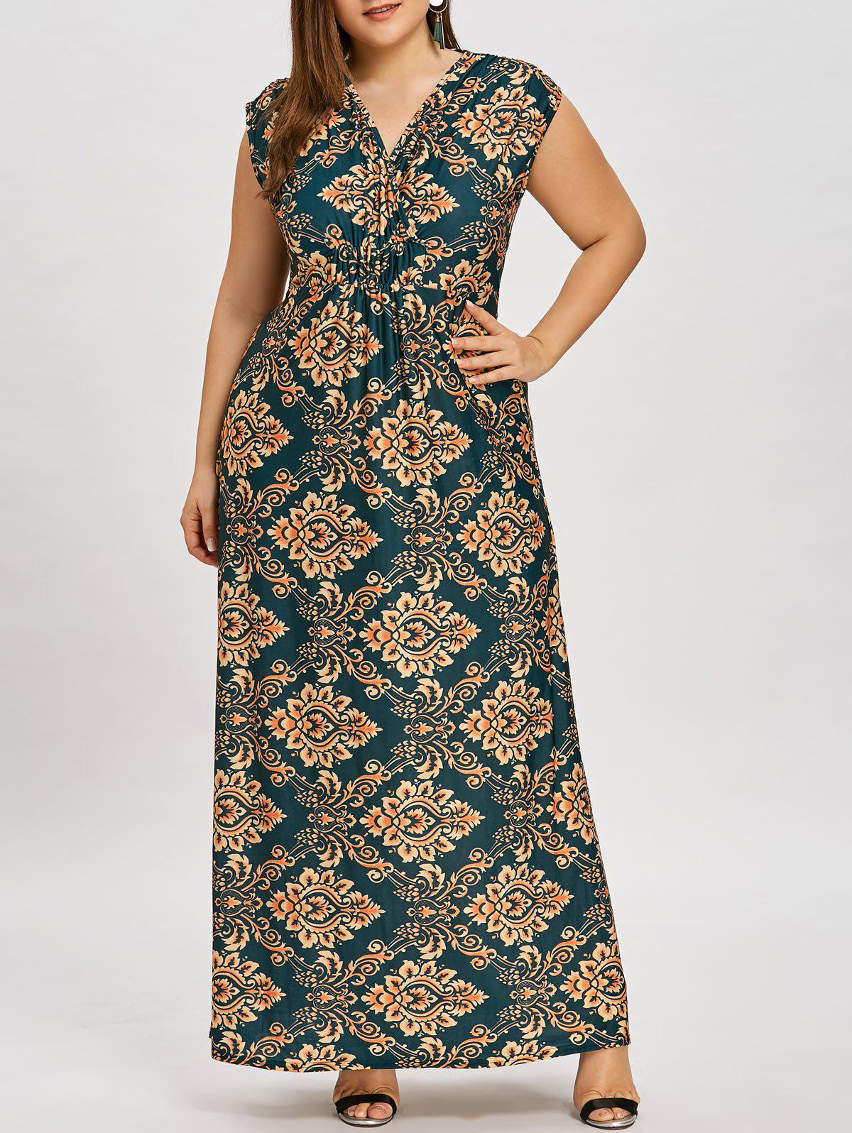 Latest Causal Plus Size Empire Waist Long Dress