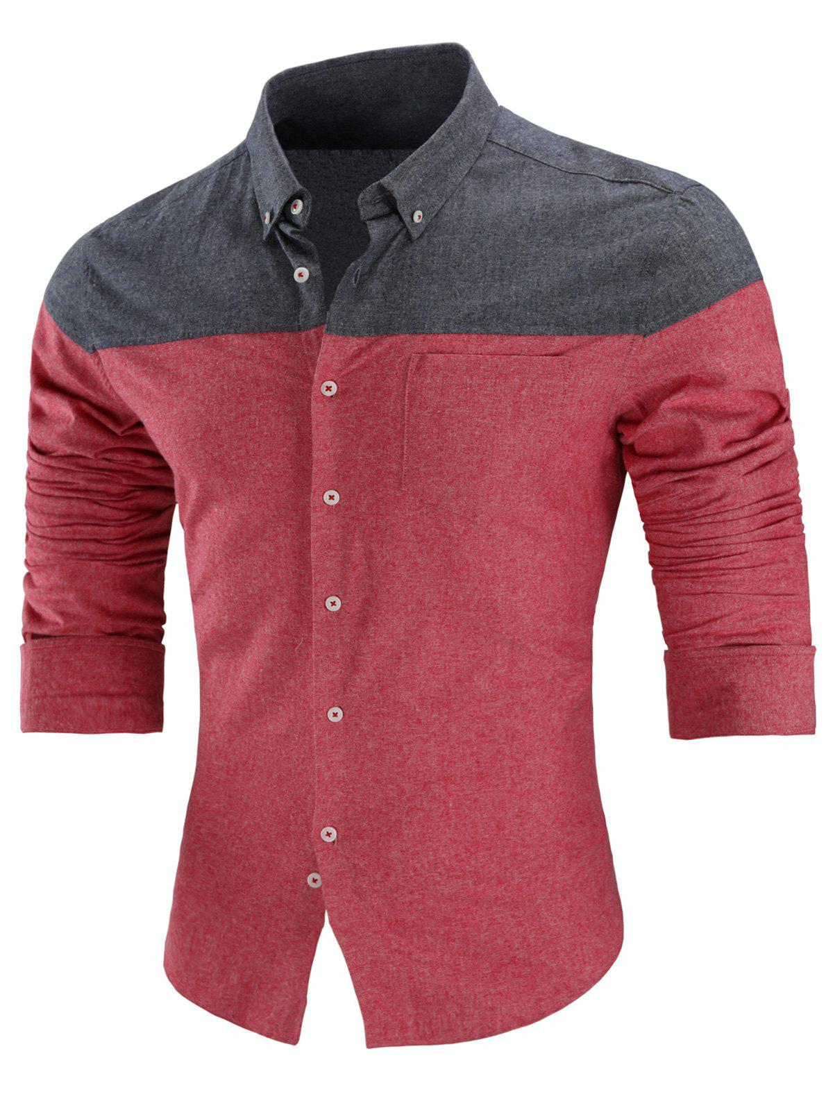 Trendy Long Sleeve Two Tone Button Down Shirt
