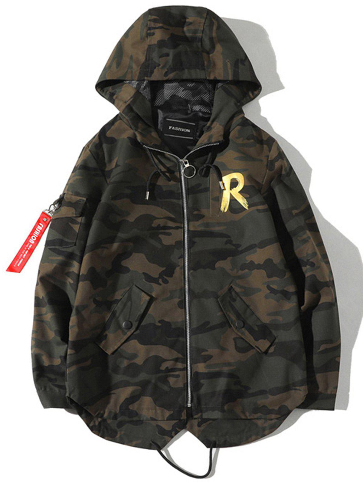 New Fishtail Back Graphic Camo Jacket