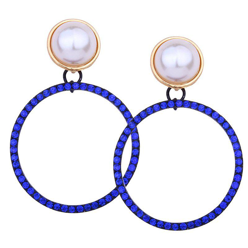 Discount Sparkly Rhinestone Faux Pearl Circle Drop Earrings