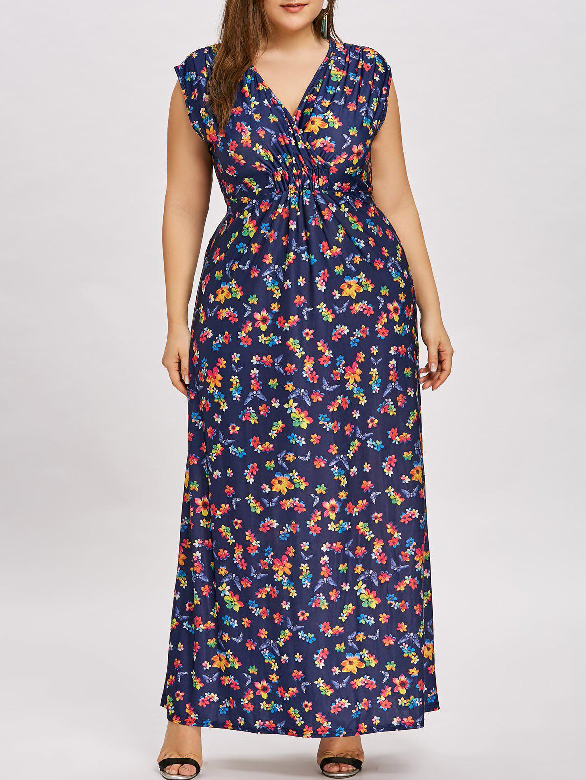 Sale Flower Plus  Size Empire Waist Long Dress