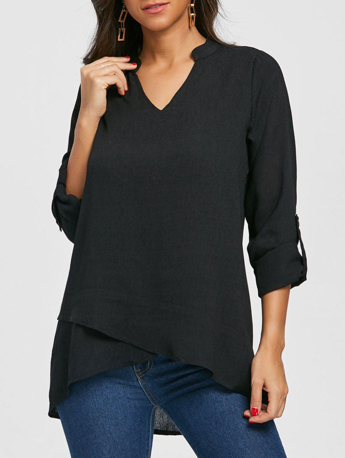 Cheap V Neck Tunic Asymmetric Blouse