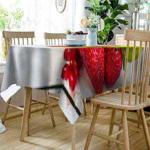 Fresh Fruit Strawberry Print Waterproof Table Cloth -