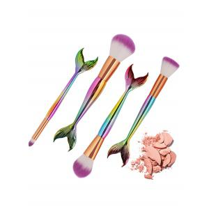 4Pcs High Quality Mermaid Pattern Ultra Soft Makeup Brush Set -