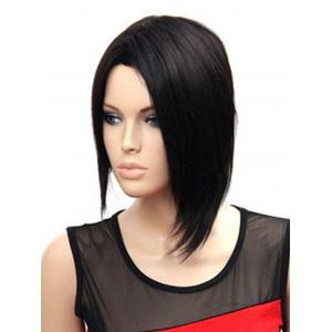 Short Side Parting Unsymmetric Straight Synthetic Wig -
