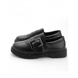 Faux Leather Square Buckled Loafers -