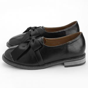 Bowknot Faux Leather Loafers -