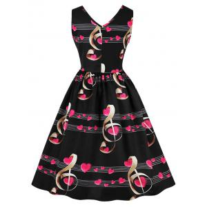 Retro Heart Music Notes Valentines Flare Dress -