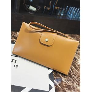 Pure Color PU Leather Hasp Folded Clutch -