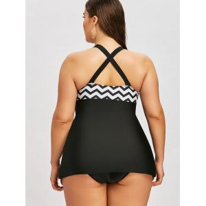 Plus Size Zigzag Criss Cross Tankini Set -