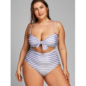Plus Size Bowknot Cutout One Piece Beachwear -