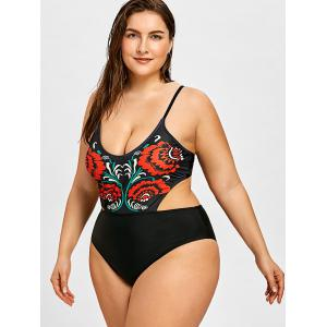 Flower Plus Size Plunge Backless One Piece -