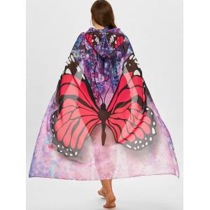 Butterfly Print Plus Размер Sheer Beach Cover Up -