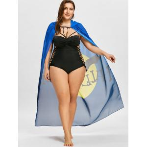 Bat Print Plus Size Sheer Cover Up -