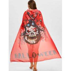 Skull Print Plus Size Sheer Cover Up -