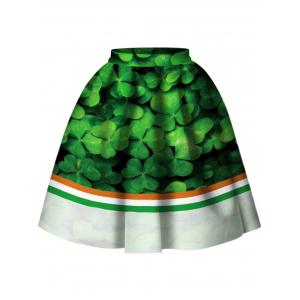 High Waist Leaf Print Skirt -