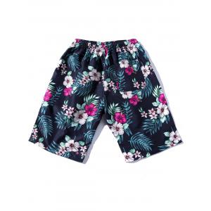 Drawstring Printed Hawaiian Shorts -