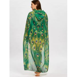 Paon Plume Imprimer Plus Taille Sheer Cover Up -