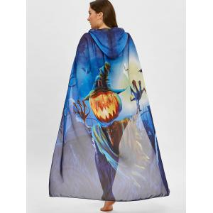Plus Size Pumpkin Print Ombre Sheer Cover Up -