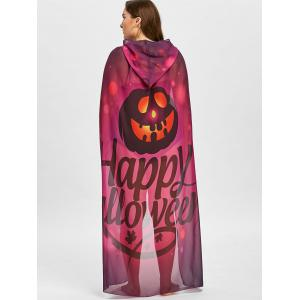 Halloween Pumpkin Print Plus Size Sheer Cover Up -