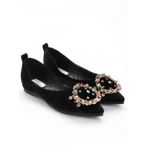 Casual Buckled Beading Flats -