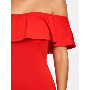Ruffle Off The Shoulder Bodycon Dress -