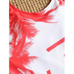 Palm Trees One Piece Lace-up Swimsuit -