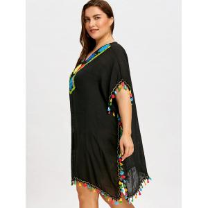 Plus Size Tassel Sheer Cover Up Dress -