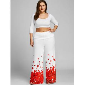Plus Size Rose Petal Pattern Pants -