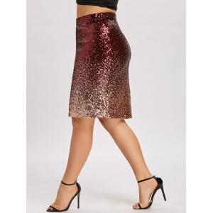 Plus Size Ombre Color Sequin Bodycon Skirt -