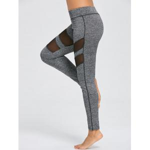 Marled Mesh Panel Workout Leggings -