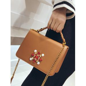 Faux Pearl PU Leather Crossbody Bag -