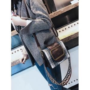 PU Leather Printing Straps Plaid Shoulder Bag -