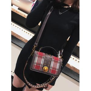 Multipurpose Rivet Plaid Shoulder Bag -