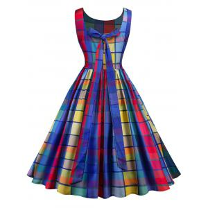 Checked Midi Fit and Flare Dress -