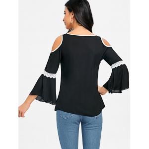 Cold Shoulder Flare Sleeve Blouse -
