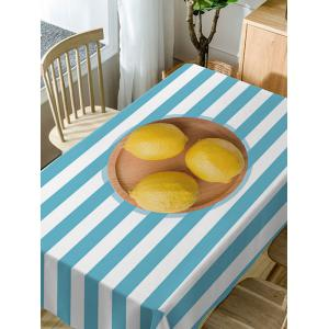 Lemon On Stripe Pattern Waterproof Dining Table Cloth -