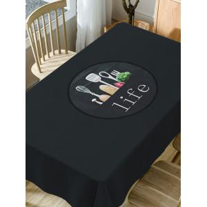 Life of Kitchen Print Waterproof Dining Table Cloth -