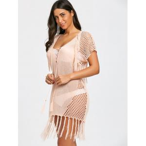 Lace-up Crochet Knit Tassel Cover Up Dress -