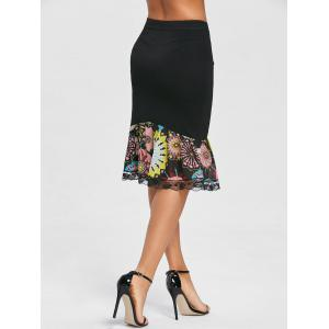Print Trimmed Mermaid Bodycon Skirt -
