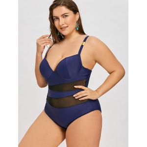 Semi Sheer Plus Size Cami One-Piece Swimwear -