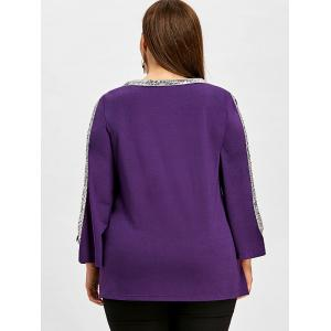 Plus Size Shoulder Cut T-shirt with Sequined -