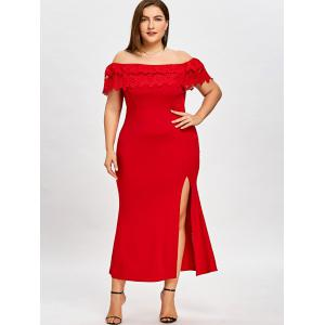 Plus Size Off The Shoulder Prom Dress -