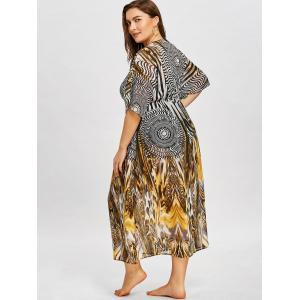Plus Size Graphic Self Tie Flowing Cover Up -