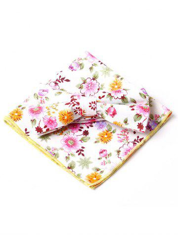 Hot Simple Floral Pattern Embellished Bow Tie and Handkerchief