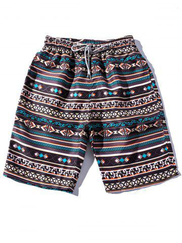 Outfit Pockets Ethnic Style Printed Beach Shorts