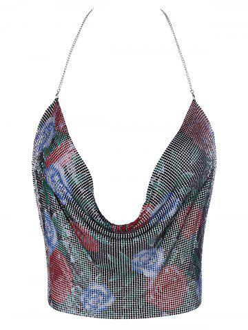 Cowl Neck Metallic Floral Cami Top