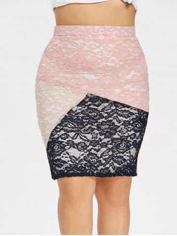 Discount Plus Size Floral Lace Tight Skirt