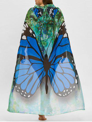 Outfits Butterfly Print Plus Size Sheer Beach Cover Up