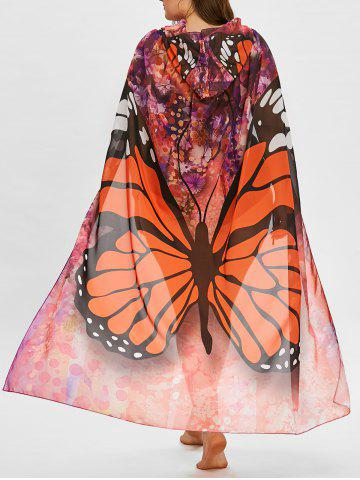 Store Butterfly Print Plus Size Sheer Beach Cover Up